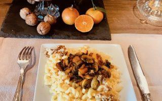 coquillettes sans gluten clémentines noix